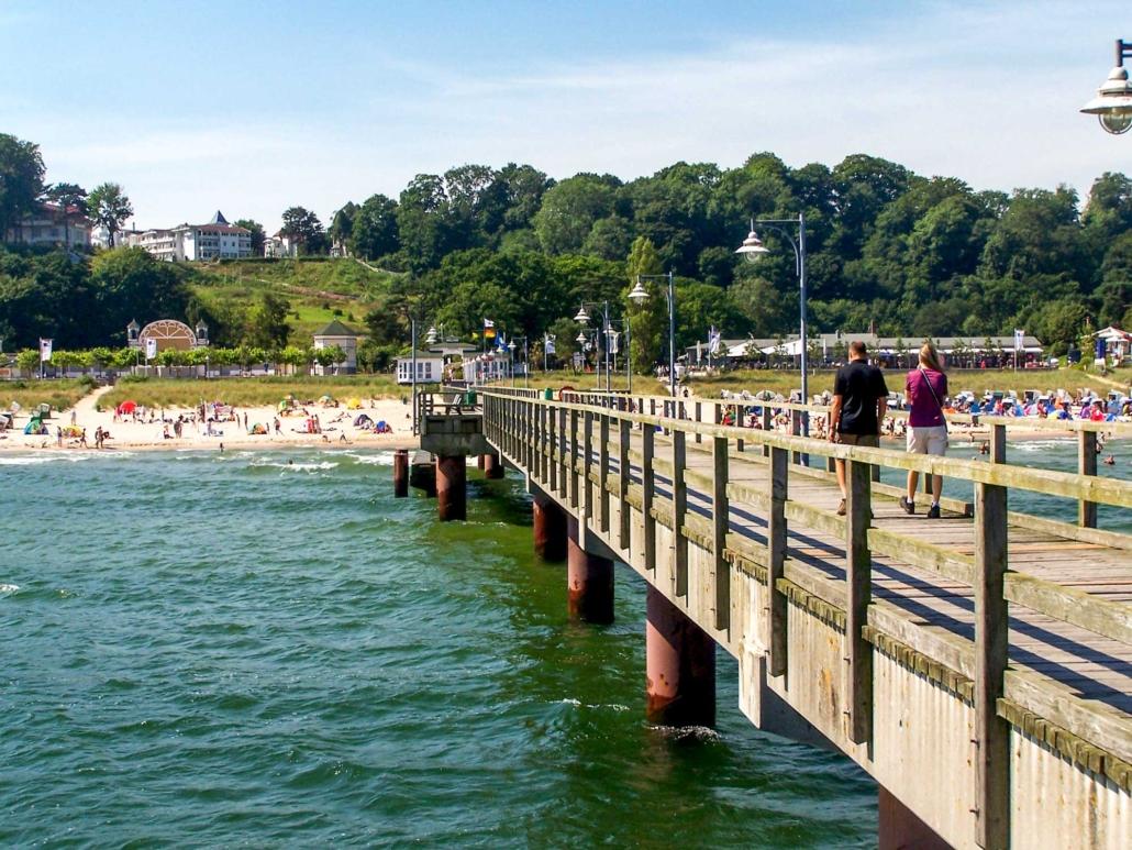 Blick von der Seebrücke zum Nordstrand